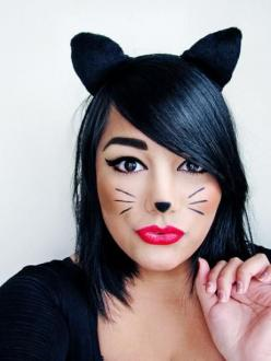 Halloween cat makeup/ears. I'd probably skip the nose and just do a classy cat eye look, possibly with whiskers.: Holiday, Cats, Halloween Costumes, Costume Ideas, Halloween Makeup, Cat Makeup, Halloween Ideas, Makeup Idea