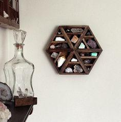 Hexagon Crystal and Mineral collection in Handmade shelf - Stone and Violet on Etsy