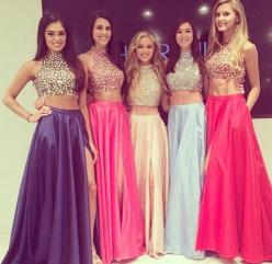 Hot Sale Crop Tops Dresses 2014 High Neck Full Beaded Bodice Long A-line Side Split Long Maxi Prom Dresses Seperated Two Pieces - $160: Sherrihill, Fashion, Sherri Hill, High Neck, Style, Crop Tops, Prom Dresses, Two Piece, Homecoming Prom
