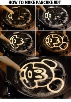 How to make pancake art: Mickey Mouse Pancake, How To Make Pancakes, Fun Pancakes, Cupcakes Pancakes Crepes, How To Pancake Art, How To Make Pancake Art, Disney Pancakes, Pancakes Art
