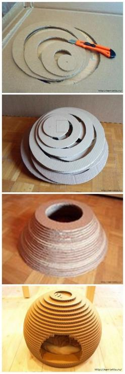 How to Use Cardboard to make a cat's house but wouldn't this make the perfect beehive for some pretend play!: Cardboard House, Cardboard Cat House, Diy Cat Bed, Cats House, Diy Cat Toy, Cardboard Box House, Diy Cat House