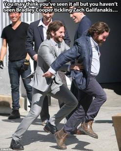I don't know what to do with this.: Bradley Cooper, Giggle, Cooper Tickling, Zach Galifianakis, Funny, Tickling Zach, Bradleycooper