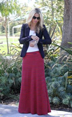 I have this skirt - now I have a cute new way to wear it: Jacket, Striped Maxi Skirts, Maxi Idea, Dressingwithdignity Fashion, Maxis, Black Maxi Skirts, Fall Outfit, Maxi Skirt Outfit Ideas