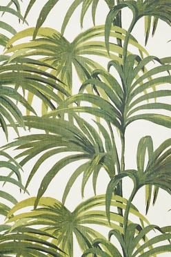I like the tropical fronds motif as an alternative decoration wise. I could do a few different panels along the walls of my living room. , with a banner above?: Palmeral Cotton, Hackney, Pattern, Green, Wallpapers, Palmeral Wallpaper, House, Cotton Linen