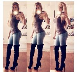 I love this look but I'm too short..could never pull off over the knee boots! Wahhh #shortgirlproblems: Selfie, Girls, Body, Style, Outfit, Casual, Jeans, Amanda, Boots