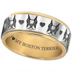 I ♥ My Boston Terrier' Spinner Ring - The Danbury Mint: Boston Terrier Ring, Boston Terrier Jewelry, Spinner Rings, Boston Terriers, Boston ️Terriers, Dog