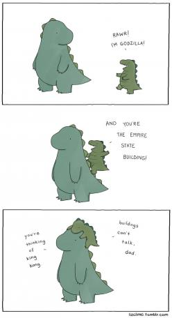 In case of giant radioactive monsters... — lizclimo: king godzilla  for toby and indiana ...: Dad, Buildings Can T, Dinosaur, Godzilla, Funny Stuff, Humor, Things