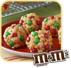 Jingle Bell Balls - Rice Krispies, M, and Peanut Butter. Great for a kids Christmas Party!: Holiday Rice Crispy Treat, Christmas Food, Christmas Cookie, Holiday Food, Christmas Rice Crispy Treat, Christmas Rice Krispie Treat, Holiday Rice Krispie Treat, R