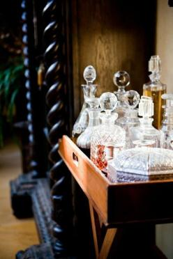 love the crystal liquor bottles on a tray.  perfect for second shelf on white cabinet in D R: Crystals, Decor, Interior, Idea, Mini Bar, Barcarts, House, Bar Carts