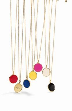 LOVE these kate spade pendant necklaces - they each have a different saying on them $58: Pendant Necklace, Locket Necklace, Simple Necklace, Kate Spade Gift, Kate Spade Bridesmaid, Bridesmaid Gift