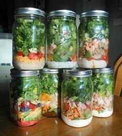 make these each week on Sundays. Usually they are GONE within only a few days, but they will last 6-7 days! Super simple recipe inside :): Idea, In A Jar, Food, Jarsalad, Recipes, Mason Jar Salads, Lunch, Mason Jars