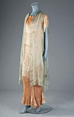 Mariano Fortuny ensemble, circa 1920-1930. 1920-30 Apricot silk Peplos gown and a stencilled tabard, edged with striped white Murano beads to the shoulders.: Silk Peplos, Apricot Silk, 1920S 1930S Gowns, Peplos Gown, Mariano Fortuny, Photo, Fortuny Fashio