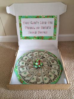 Money gift ideas!!! Pizza dough. Perfect gift idea for teens. Comes in personal pan pizza size too :) Got to remember to get a pizza box: Graduation Gift, Money Gift Idea, Giftideas, Birthday Gift, Gift Ideas, Cash Gift, Grad Gift, Pizza Box Craft