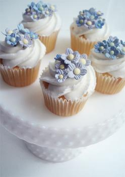 Mother's Day Cupcakes by such pretty things, via Flickr: Cup Cakes, Mothers, Blue Flowers, Floral Cupcakes, Pretty Things, Flower Cupcakes, Cupcake Design, Mini Cakes