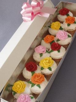 Mother's Day: Homemade Creations - send 'em a box of cupcakes...Hey, this site has lots of great ideas!!: Food Cakes Cupcakes Frostings, Valentines Cupcakes, Cupcakes Cute Idea, Flower Cupcakes, Cupcakes Great Idea