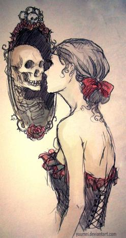 Never Lasting - Skullspiration.com - skull designs, art, fashion and more: Tattoo Ideas, Skulls, Mirror Mirror, Drawings, Inspiration, Stuff, Tattoos, Art, Illustration