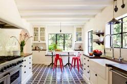 Obsessed. The Mediterranean architecture, the farmhouse sink, the floors, red chairs, everything.: Interior Design, Kitchens, White Kitchen, Idea, Floor, Jessica Helgerson, Kitchen Design, House
