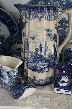 Old Dutch pieces I love the pitcher, but what really caught my eye is the windmill shaker. I have this set of s Shakers! They were my grandmother's.: Blue China, Aiken House, White China, Blue White, House Gardens, Blue Transferware, Things Blue, Whit