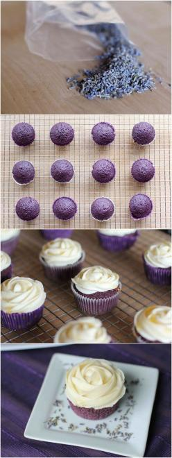 Omg! Prefect! Exactly my inspiration from molly moons. Didn't think about the honey flavored frosting. BINGO!: Cupcakes Cake, Cupcake Recipie, Lavender Cupcakes, Cupcake Recipe, Honey Frosting, Cup Cake, Cupcake Frosting