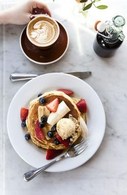/// pancakes & coffee | Nicole Franzen: Sunday Morning, Sweet, Breakfast Coffee, Fruit Pancakes, Good Morning, Breakfast Food, Coffee Breakfast