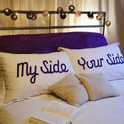 Perfect for any bed, no matter what the sleeping arrangements are!    Set of 'My Side' and 'Your Side' 100% cotton oxford pillowcases. standard size: 75cm x 50cm from NotOnHighStreet $50.00    Machine washable at 40 degrees. Wash inside ou