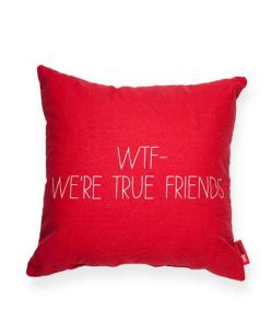 Perfect for my friend who just got her own place!: Wtf Red, True Friends, Gift Ideas, Décor Pillows, Red Throw, Decorative Throw Pillows, Decor Pillows, Wtf We Re True