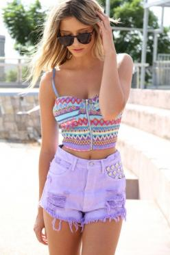 Rainbow Bandeau Top: Outfits, Fashion, Tops, Summer Outfit, Style, Dream Closet, Clothes, Shorts, Crop Top