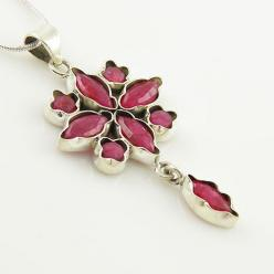 Ruby Floral Sterling Silver Pendant - keja jewelry: Keja Designs, Floral Sterling, Sterling Silver Pendants, Keja Jewelry, Products, Designs Jewelry