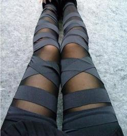 Sexy Punk Stripes Style Leggings. Love these!: Fashion, Clothes, Stripes Legging, Punk Stripes, Stripes Style, Bandage Leggings