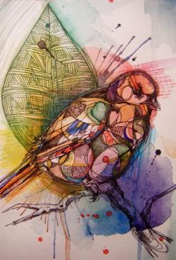 Sketchbook Project 2012 inspiration...bird, mixed media: Watercolor, Mixed Media, Birds