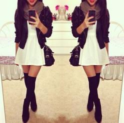 Spring Outfit - White Dress - Black Leather Motorcycle Jacket - Black Thigh High Boots(Ill do cowgirl boots) - Scarf(chunky necklace): Knee High, Outfits, Fashion, Thigh High, Style, Dream Closet, Clothes, Dresses, Fall Winter