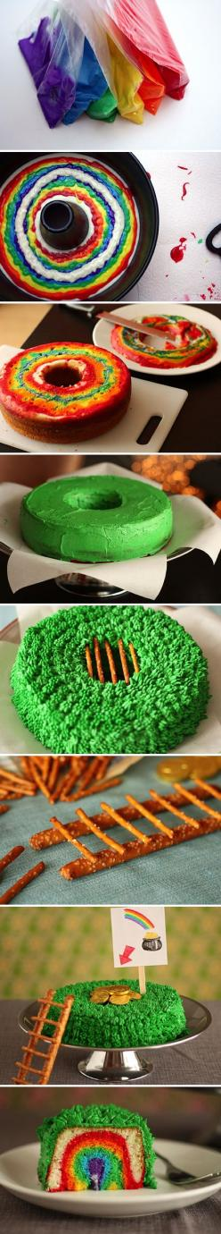 St. P's Day Leprechaun Trap Cake; ahhhh it's so fun! :) this would even make for a fun stuck-in-the-house rainy day kid activity :): Trap Cake, Leprechaun Trap, Stpatricks, Recipe, Rainbow Cake, St Patty, St Patricks