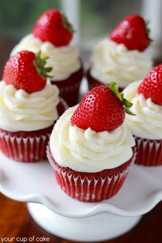 Strawberry Red Velvet Cupcake #cupcakes #cupcakeideas #cupcakerecipes #food #yummy #sweet #delicious #cupcake