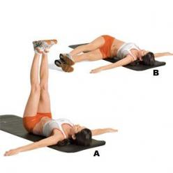 Targets obliques     Lie on your back with your arms extended out to the sides at shoulder height. Raise your legs until they're perpendicular to the floor (A). Lower your legs to the left side of your body so you meet the floor a few inches away from
