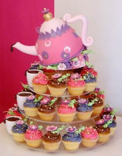 tea party cake @Jen D: Party Cake, Tea Party, Cupcakes, Teaparty, Teas, Tea Parties, Wedding Cakes, Cup Cake, Party Ideas