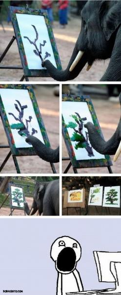 That awkward moment when an elephant paints a better tree then you do.: Elephants, Animals, Elephant Paintings, Tree, Stuff, Awesome, Funny, Paint Better