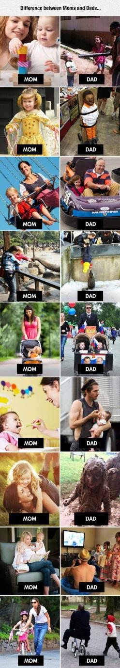There's A Clear Difference Between Moms And Dads: Funny Parenting, Dads Funny, Mom And Dad Funny, True Hahahahahahaha, Funny Dads, Mom Dad Funny, Funny Moms, Parenting Quotes Funny