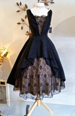 "This dress simply draws me...I imagine a countess who's just thrown off her title and run through the woods to escape her planned destiny...or a ""Black Widow"" type attempting to woo her late husband's best friend, a detective, with allurin"