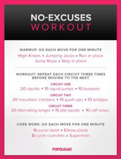 this is a tough one.  I did the whole thing as a circuit... all 9 exercises in a row, three times through.: No Excuses Workout, Noexcuses, Fitness, Work Outs, Workouts, Exercise, Body Weight, Circuit Workout