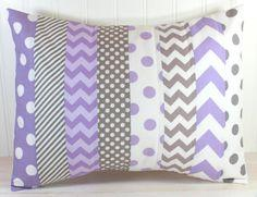 Throw Pillow Cover, Nursery Cushion Cover, Baby Girl Nursery Decor, Playroom Pillow Cover, 12 x 16 Inches, Lavender, Purple, Gray Chevron