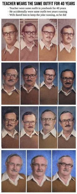Totally different but gave me an idea - we could use something like this for an administrator who is retiring. He's been at the school since 1976 so we can find plenty of photos to see him over the years.: 40Years, Giggle, Awesome, Outfit, 40 Years, F