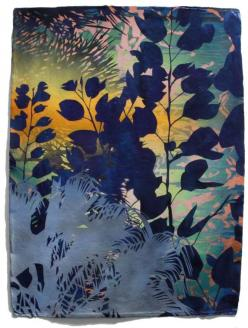 """Transient Seedlings by Devon Tsuno, 30 x 23"""" acrylic and spray paint on paper - layered stencil work - part of his Horticulture series - Tsuno's new abstract paintings focus on non-native vegetation and bodies of water that exist as urban oasis.: Work"""