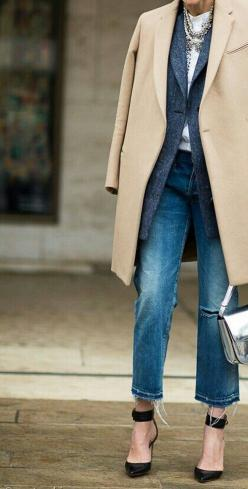 Tuesday Ten: November Style Ideas Check out this woman's neck!!! She's no spring chicken!!!: Boyfriend Jeans, Fashion, Layered Coats, Street Style, Outfit, Camel Coat, Fall Winter, Style Ideas