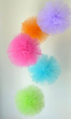 : Tulle Balls, Tulle Poms, Birthday, Craft, Pom Poms, Pompon, Pompom, Party Decoration, Party Ideas