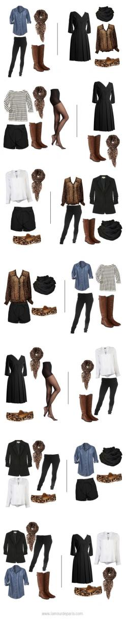 Two weeks worth of outfits from one carry on: Chambray + sheer tights + black dress + black jeans + black blazer + black shorts + striped tee + white tee + leopard button down + brown boots + leopard flats + leopard scarf: Travel Packing, Leopard Print, O