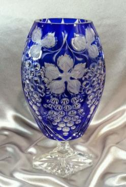 Vintage Bohemian Cobalt Blue Cut to Clear Crystal Vase Grape Design Czech | eBay: Vintage Bohemian, Cobalt Blue, Crystal Vase, Vase Grape, Grape Design, Blue Cut, Cut Glass