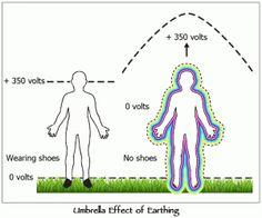When you take your shoes off and make direct contact with the earth the earth magnetic field is able to be transmitted through your body because it is a good conductor of electric current and we have a lesser charge than the earth does. Electrons flow to