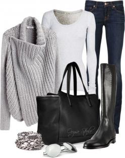 winter love. grey, white, black. denim, leather. jeans, sweater, boots. and a bag big enough to hold everything I need when it's cold outside.: Casual Outfit, Fashion, Classic Clothing Style, Winter Outfit, Fall Winter, Fall City Outfit