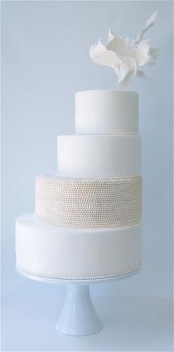 Wow - beautiful and unique - modern wedding cake inspiration from magpie's cake  merrimentevents.com: Pearl, White Wedding, Wedding Ideas, Weddings, Cake Inspiration, Cake Ideas, Wedding Cakes, Maggie Austin