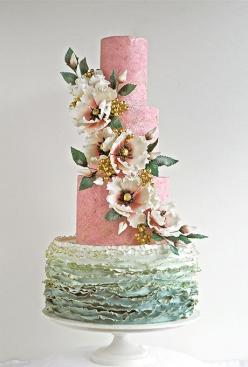 www.cakecoachonline.com - sharing...Brides.com: . Rick Reichart of cakelava fashioned this stunning sage green and pink wedding cake that features textured fondant-covered tiers, gold-tinged ruffles, and a cascade of handmade sugar blossoms. Price upon re